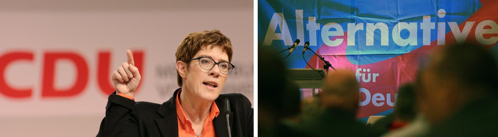 Die Logos von CDU und AfD
