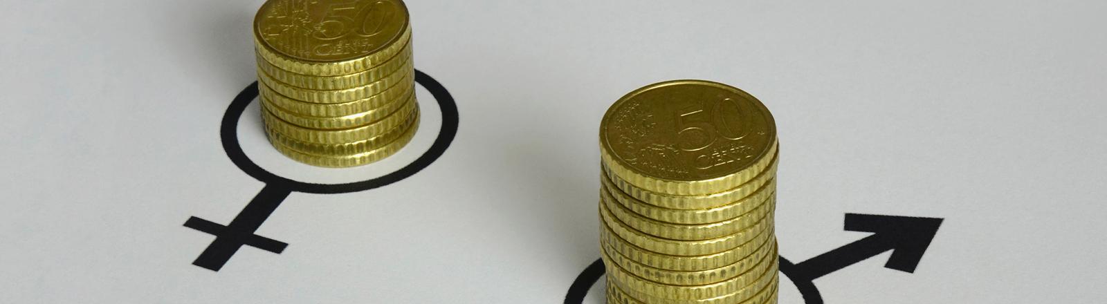 In den Symbolen fuer maennlich und weiblich stehen verschieden grosse Geldstapel.