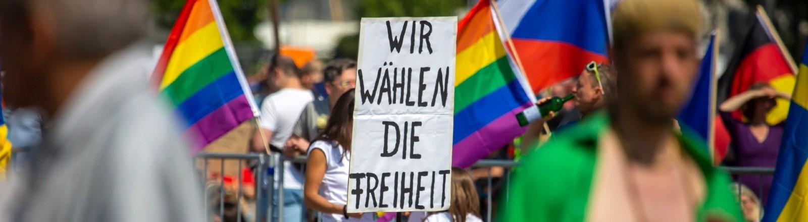 Demonstration in Stuttgart für das Grundgesetz und gegen Corona-Maßnahmen.