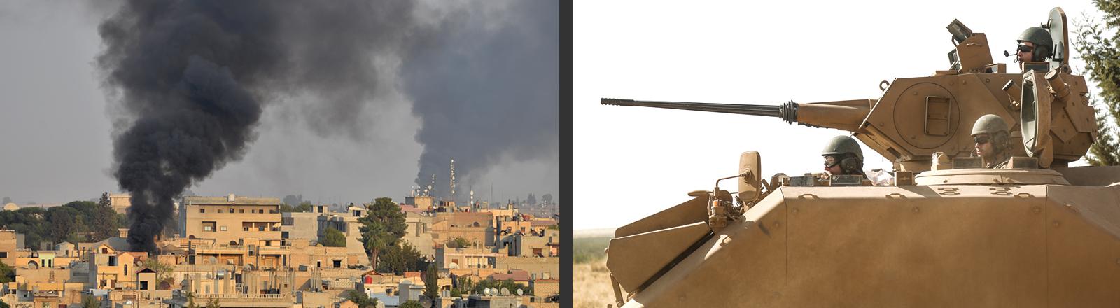 Türkische Soldaten in einem Panzer, Rauch steigt aus einem Dorf auf.