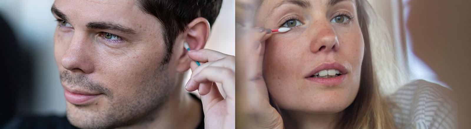 Mann mit Ohrenstäbchen