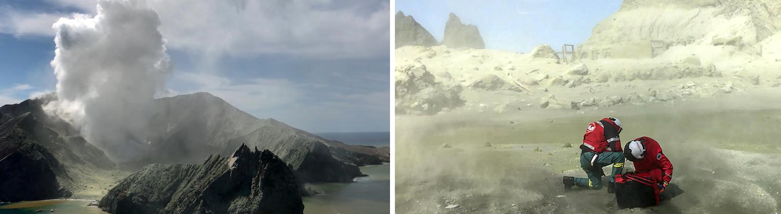 Rauch aus einem Vulkan und Rettungskräfte bei der Arbeit