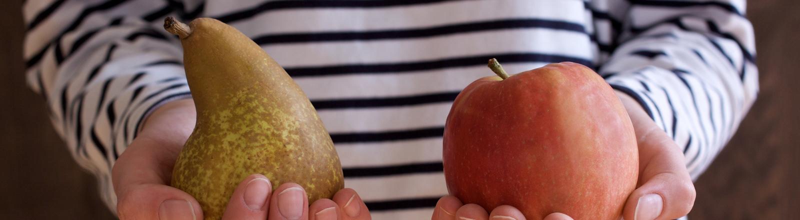 Zwei Hände werden der Kamera entgegengestreckt. Die eine Hand hält eine Birne, die andere einen Apfel.
