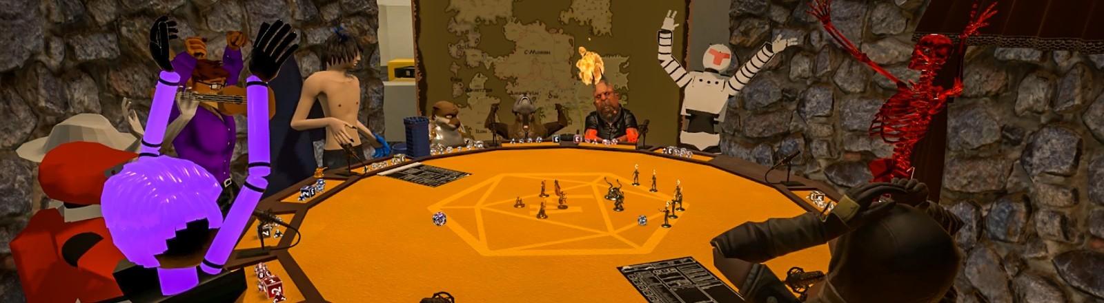Ein virtueller Chatraum mit Avataren an einem Spielerisch