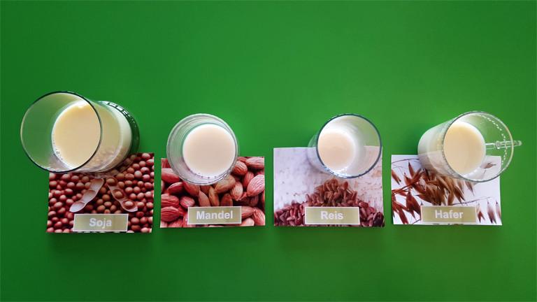Beispiele von Milchersatzprodukten im Glas: Soja, Mandel, Reis und Hafer