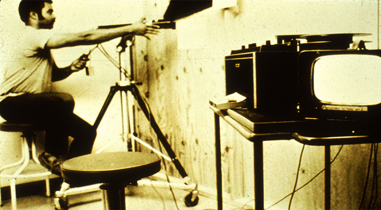 Filmaufnahmen während des Stanford-Prison-Experiments.