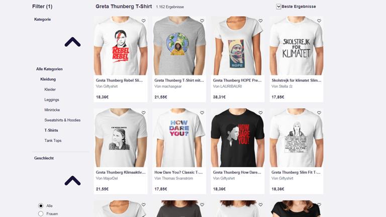 T-Shirts mit Portraits der Klimaaktivistin Greta Thunberg in einem Online-Shop