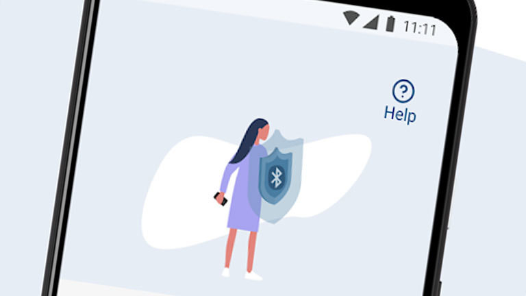 Ein Screenshot der App COVID-Safe des australischen Gesundheitsministeriums zeigt eine gezeichnete Frau mit einem Schutzschild.