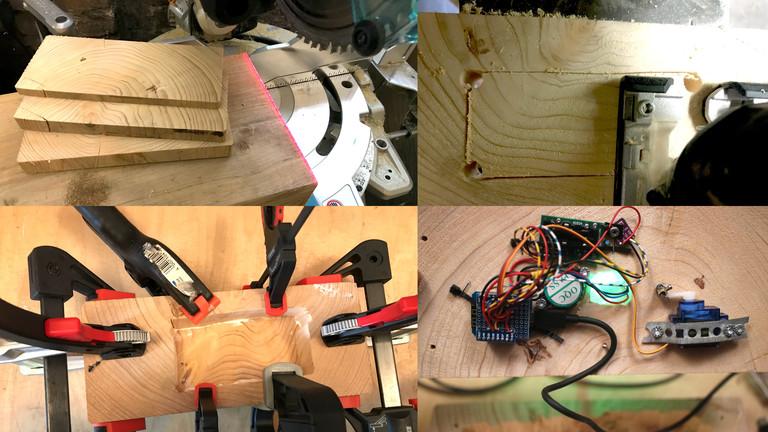 Um den Sockel zu bauen, sägt Moritz drei Scheiben von einem dicken Holzbalken ab und bearbeitet die mittlere mit Bohrer, Stichsäge und Stemmeisen, bevor sie auf die unterste geleimt wird. Am Deckel hängt die Elektronik.