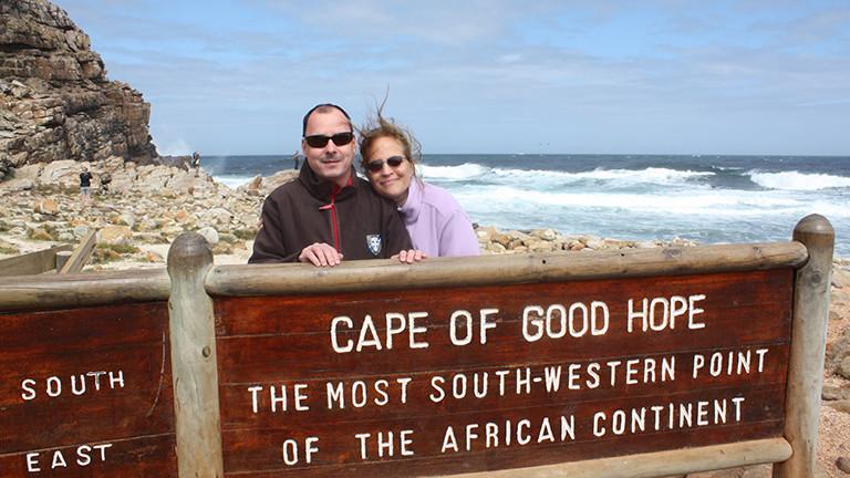 Marcel und Raphaela Franke am Kap der Guten Hoffnung in Südafrika