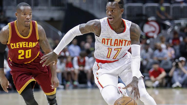 Basketballer Dennis Schröder für die Atlanta Hawks in Aktion