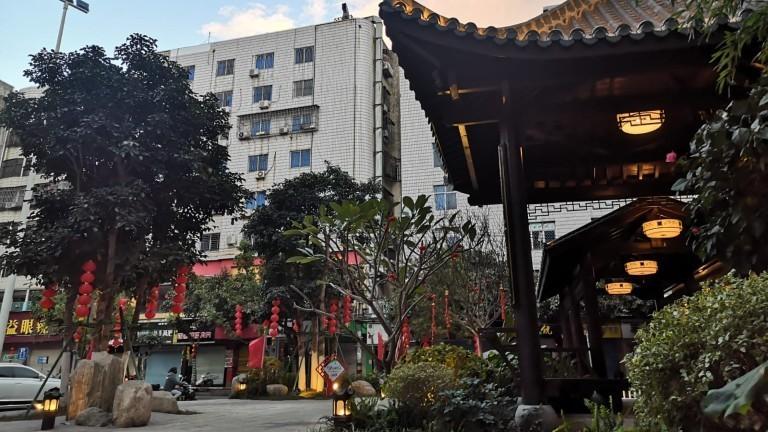 Straßen in Fuqing geschmückt für das neue Mondjahrfest
