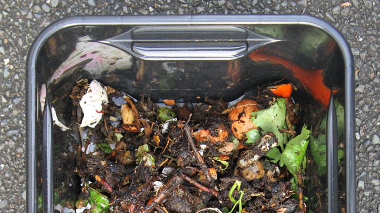 Schwarze Plastikkiste mit Gemüseabfällen