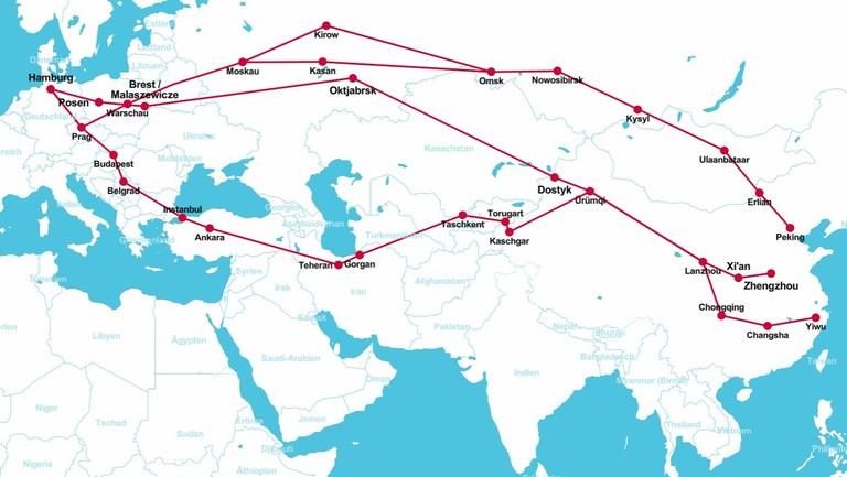 Eine Open-Map-Ansicht der Zugroute von China nach Deutschland.