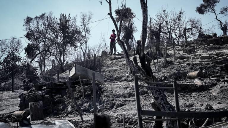 Die Überreste des Lagers in Moria – aufgenommen am 09.09.2020