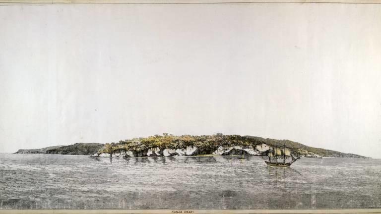 Illustration der Insel Niue von William Hodges aus dem 18. Jahrhundert, angefertigt auf Cooks zweiter großen Forschungsreise