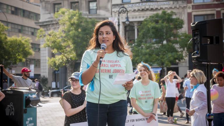 Reshma Saujani bei einer Veranstaltung von Girls Who Code in New York im August 2017