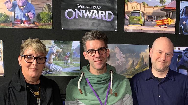 """Tom Westerholt (Mitte) mit Kori Rae (links), der Produzentin und Dan Scanlon, dem Regisseur von """"Onward""""."""