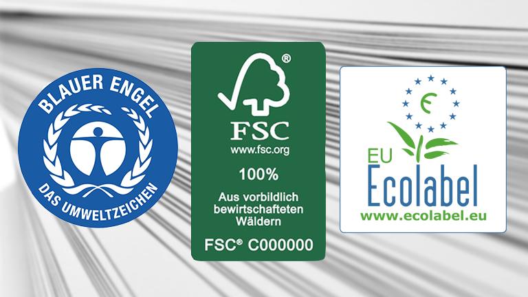 Drei Logos: Blauer Engel, FSC 100%, EU-Ecolabel