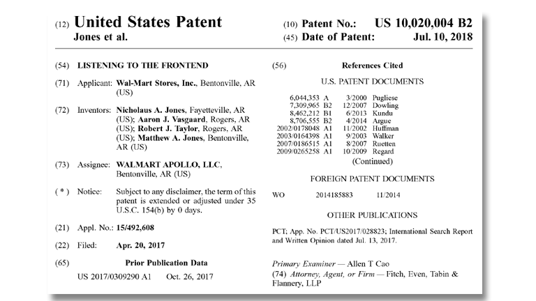 Screenshot des US-Patents 10,020,004 B2