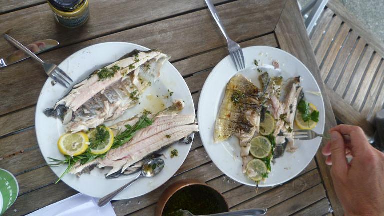 Teller mit den gegrillten Forellen und Gabeln, die reinstechen