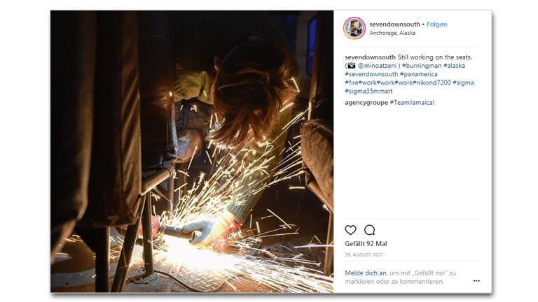 Screenshot eines Instagram-Posts - Umbau eines Schulbusses zu einem Reisebus