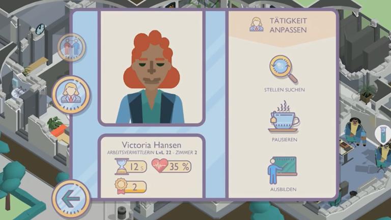 """Screenshot aus dem Mobile Game """"Amtliche Helden"""" der Bundesagentur für Arbeit"""