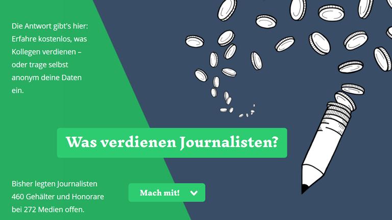 Screenshot der Seite wasjournalistenverdienen.de