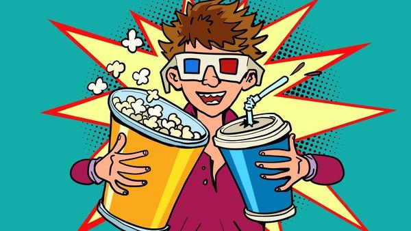 Comic von Jungen der Popcorn, Soft Drink und 3D-Brille trägt