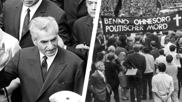 Collage aus zwei Bildern: Der Schah von Persien, Reza Pahlavi, am 03.06.1967 auf dem Flughafen Fuhlsbüttel und Schweigemarsch für Benno Ohnesorg am 05.06.1967