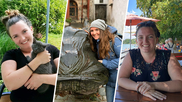 Collage aus drei Bildern: Frau mit einer Katze im Arm, Frau im Biergarten an einem See, Frau neben einer Statue auf einer Straße