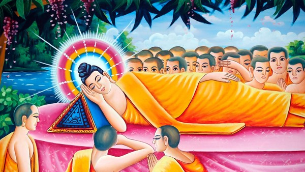 Reclining Buddha statue. After 45 years of teaching the Dharma, the Buddha passed into Parinirvana. Pitu Khosa Rangsay buddhist pagoda. The Life of the Buddha, Siddhartha Gautama. Can Tho. Vietnam.