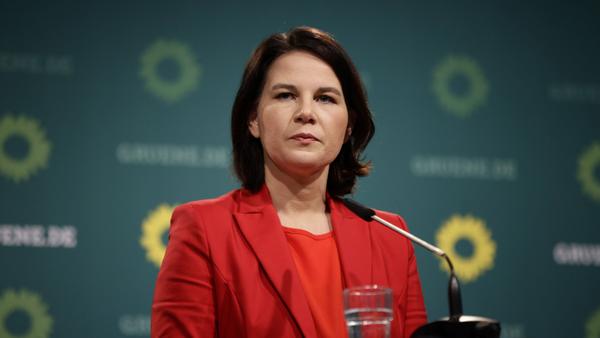 Annalena Baerbock am 26.4.2021 auf einer Pressekonferenz der Grünen.