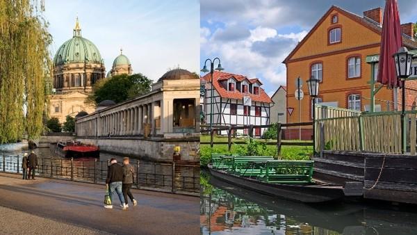 Eine Bildercollage aus einem Bild an der Spree in Berlin und einem Ort in Brandenburg