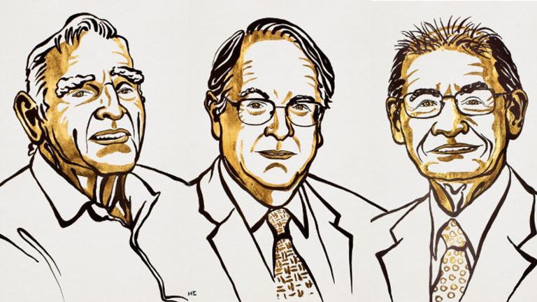 Gezeichnete Porträts von Akira Yoshino, Stanley Whittingham und John B. Goodenough (von links nach rechts), den Chemie-Nobelpreisträger 2019