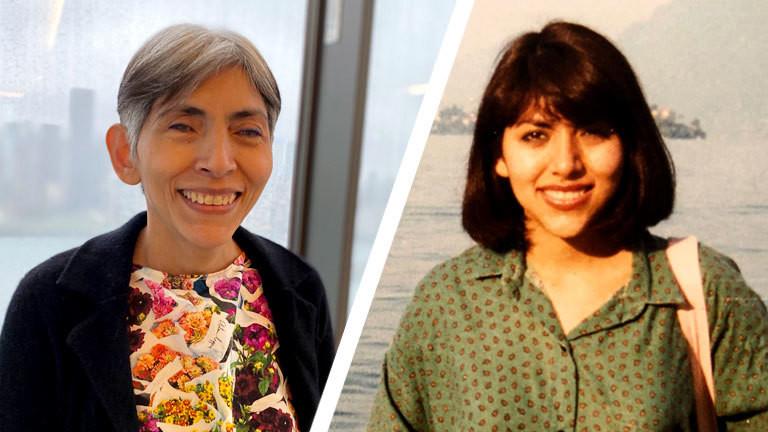 Eine Frau, links heute als ältere Dame, rechts mit Mitte zwanzig
