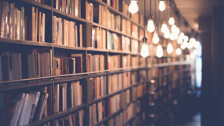 Ein langes Bücherregal mit vielen Büchern. Es ist dunkel und die Bücher sind beleuchtet.