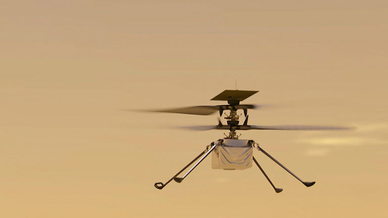 Der kleine Mars-Helikopter Ingenuity in einer Illustration der Nasa