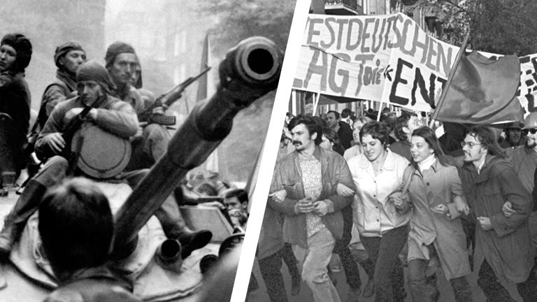 Collage: Truppen des Warschauer Pakts in Konfrontation mit Demonstranten bei der Niederschlagung des Prager Frühlings 1968 & Demonstranten bei einer Vietnam-Demonstration 1969 in Berlin