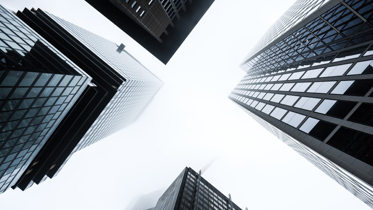 Banken in Frankfurt von unten