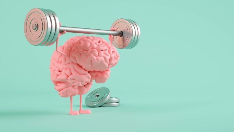 Ein Gehirn stemmt eine Hantel.