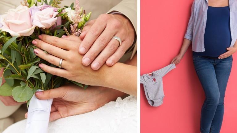 Eine Collage zeigt ein Ehepaar an seinem Hochzeitstag und eine schwangere Frau.