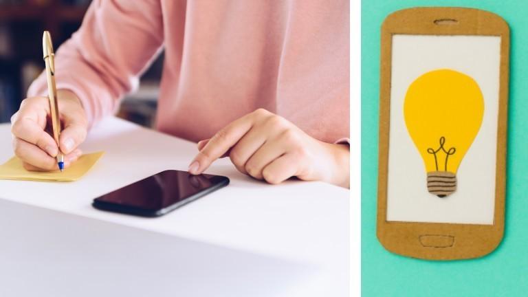 Junge Frau macht sich Notizen während sie etwas auf dem Handy liest. /Symbolbild: Glühbirne auf Handy