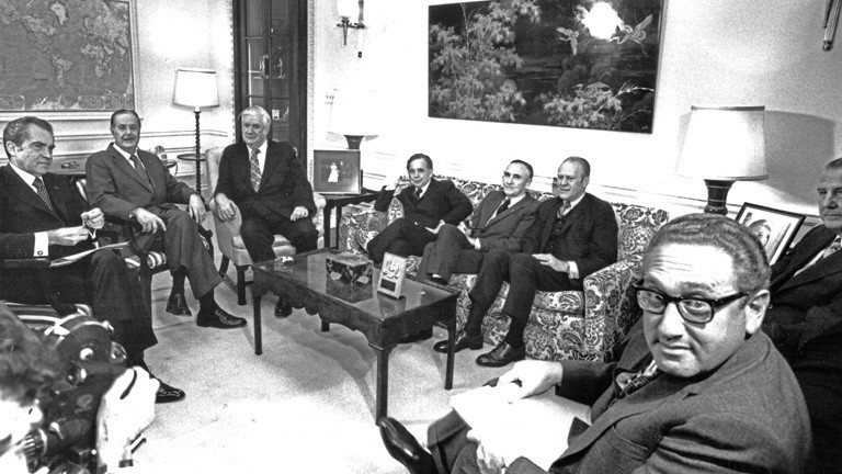 January 23, 1973, Washington, District of Columbia, USA: In this photo released by the White House, United States President Richard M. Nixon, left, meets bipartisan US Congressional leadership prior to his televised address announcing the conclusion of an agreement for ending the war and restoring peace in Vietnam in the White House in Washington, DC on January 23, 1973.