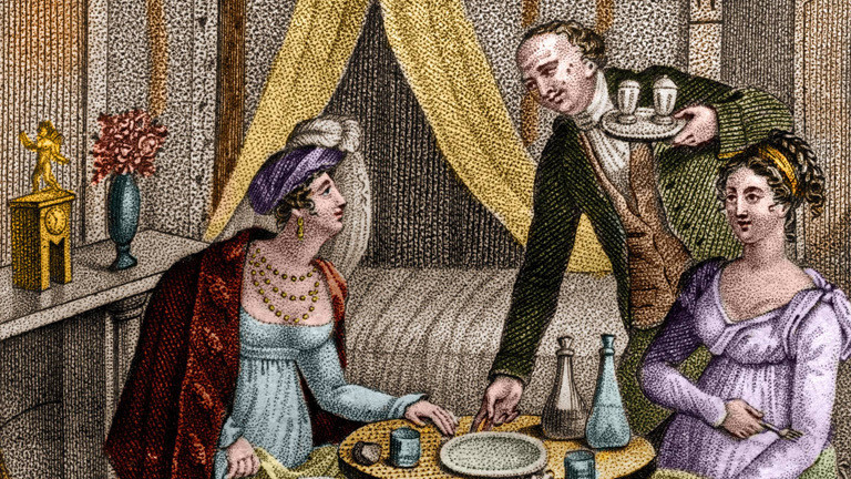 """Das Gemälde """"Le petit diner"""" zeigt die französische Frauenrechtlerin Olympe de Gouges (1748-1793) mit einer Freundin."""