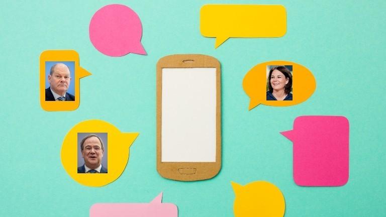 Symbolbild eines Handys mit bunten Sprechblasen. In den Sprechblasen sind die Kanzlerkandidat*innen Olaf Scholz (SPD, links oben), Armin Laschet (CDU, links unten) und Annalena Baerbock (Die Grünen, rechts oben) zu sehen.