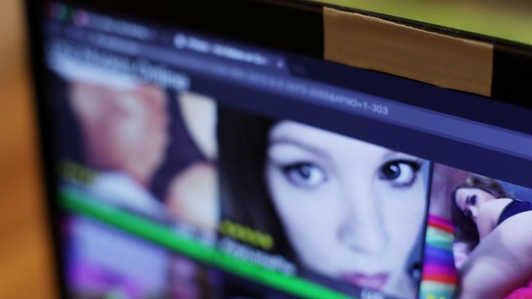 Eine Pornowebsite auf einem Computerbildschirm.