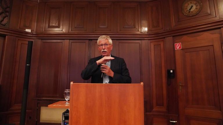 Thilo Sarrazin während eines Vortrags am 02.09.2019 in Berlin