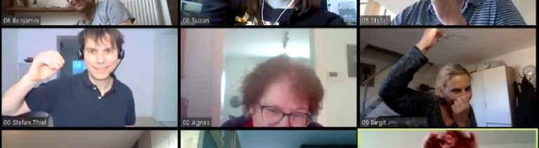 Eine Improvisationsgruppe in einer Videokonferenz