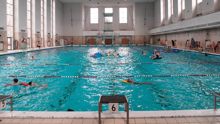Schwimmbadbecken, in dem Menschen schwimmen.
